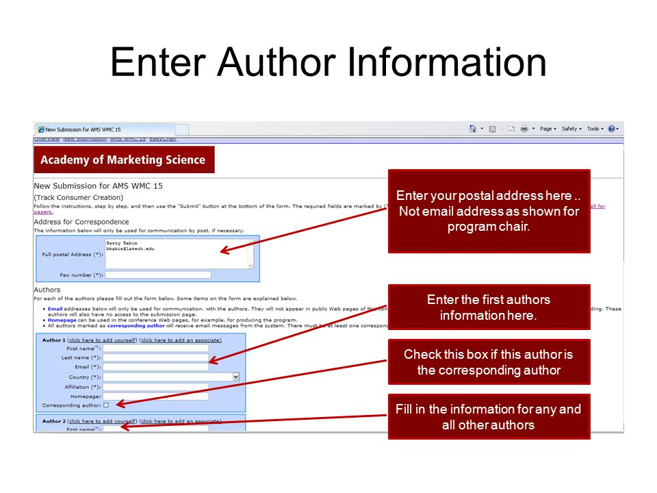 Enter Author Information