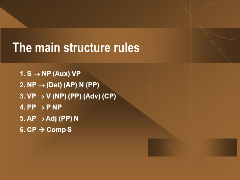 The main structure rules