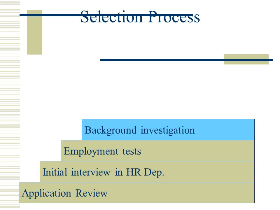 Selection Process Background investigation Employment tests