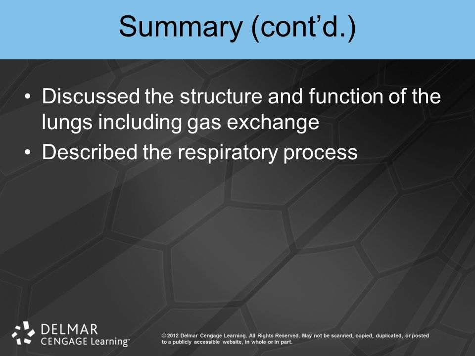 Summary (cont'd.) Discussed the structure and function of the lungs including gas exchange.