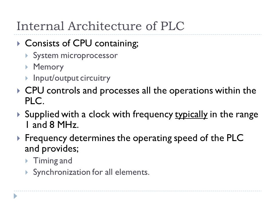 Internal Architecture of PLC
