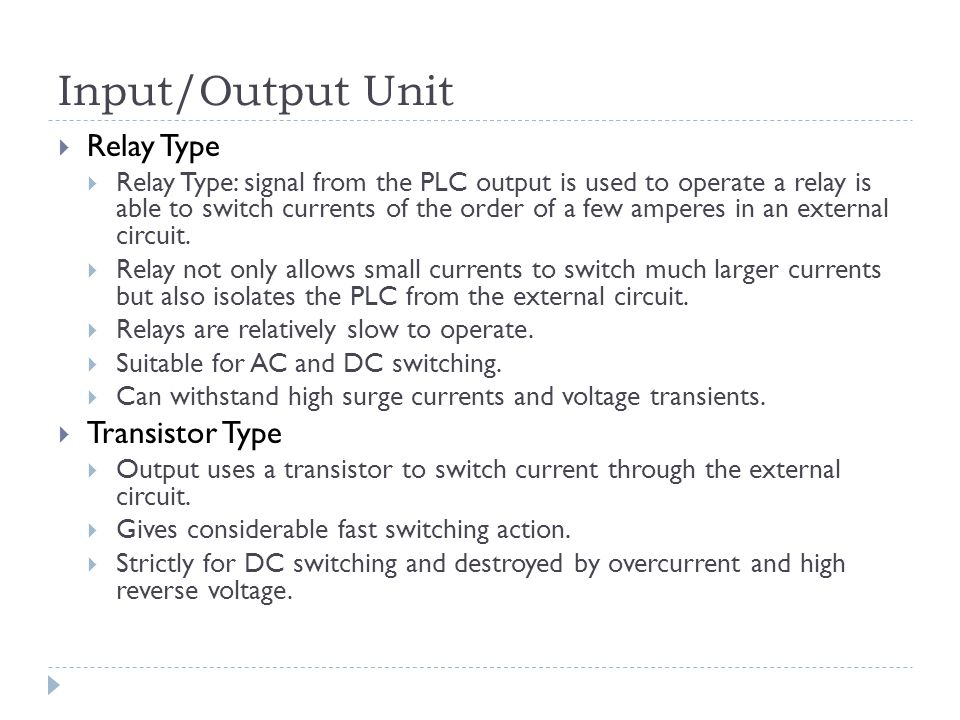 Input/Output Unit Relay Type Transistor Type