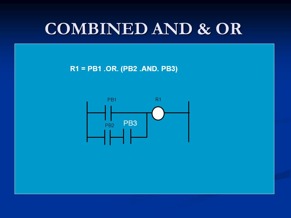 COMBINED AND & OR R1 = PB1 .OR. (PB2 .AND. PB3) PB1 R1 PB3 PB2
