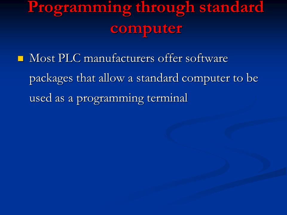 Programming through standard computer
