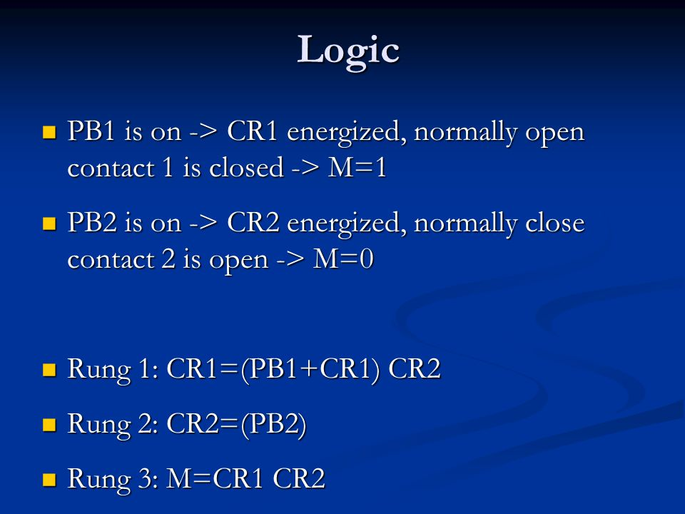 Logic PB1 is on -> CR1 energized, normally open contact 1 is closed -> M=1. PB2 is on -> CR2 energized, normally close contact 2 is open -> M=0.