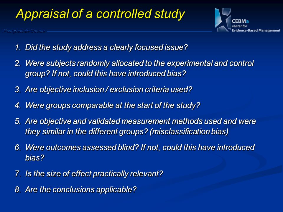 Appraisal of a controlled study