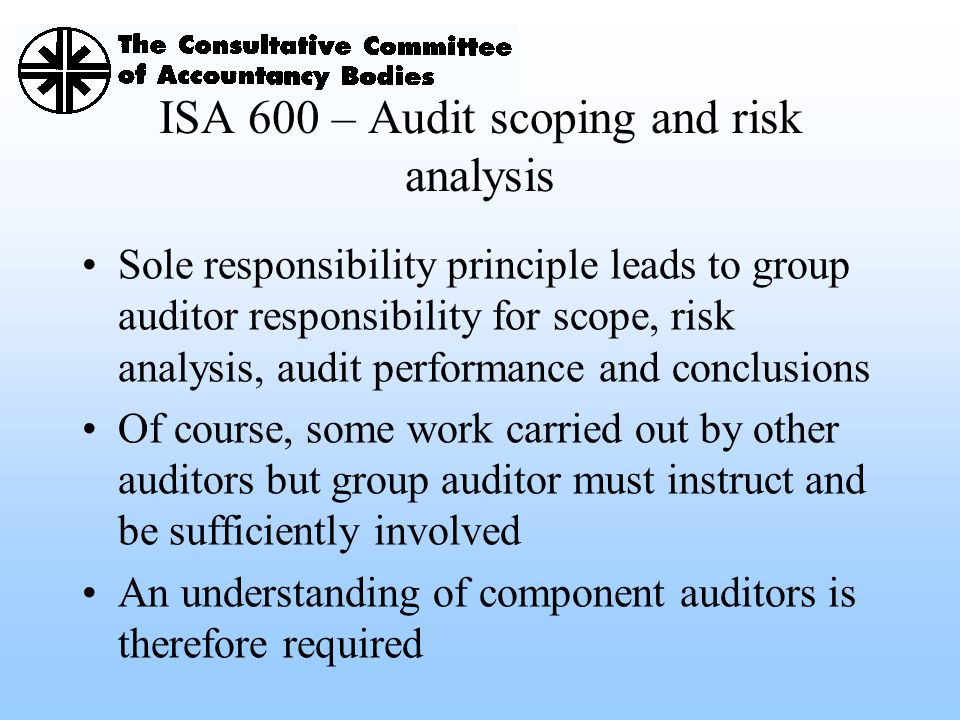 ISA 600 – Audit scoping and risk analysis