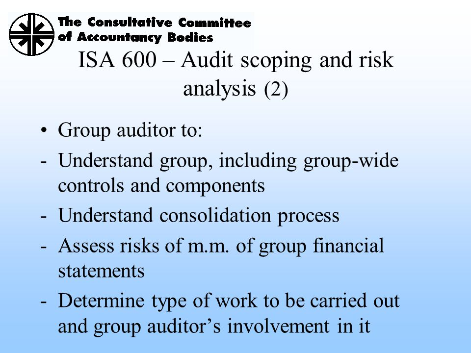 ISA 600 – Audit scoping and risk analysis (2)
