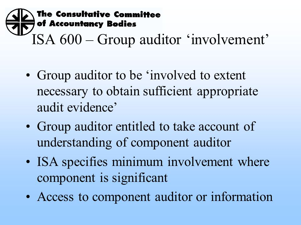 ISA 600 – Group auditor 'involvement'