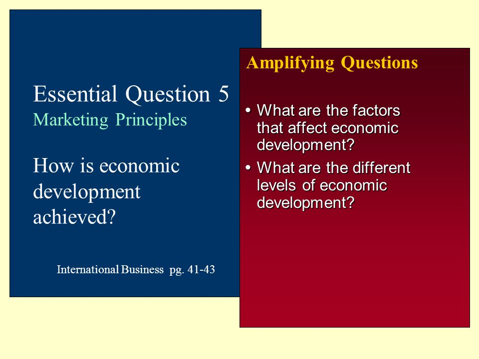 Amplifying Questions Essential Question 5 Marketing Principles How is economic development achieved