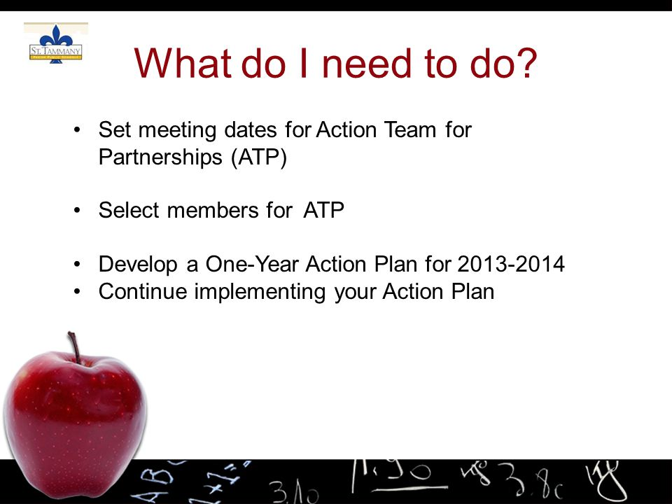 What do I need to do Set meeting dates for Action Team for Partnerships (ATP) Select members for ATP.