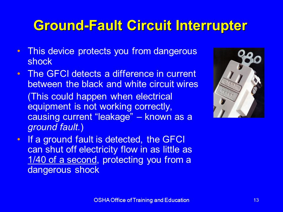 osha office of training and education ppt video online download rh slideplayer com Circuit Breaker Ground Fault Circuit Interrupter PowerBar
