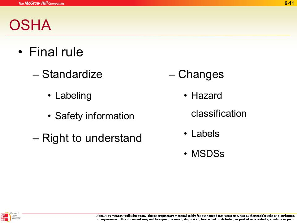 OSHA Final rule Standardize Right to understand Changes Labeling