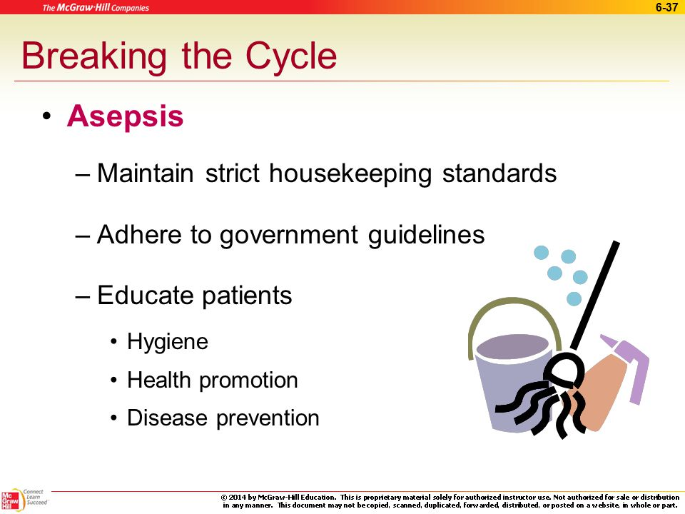 Breaking the Cycle Asepsis Maintain strict housekeeping standards