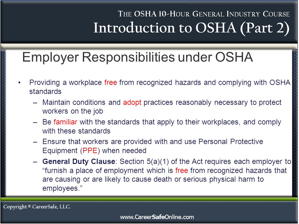 Introduction to OSHA (Part 2) - ppt video online download