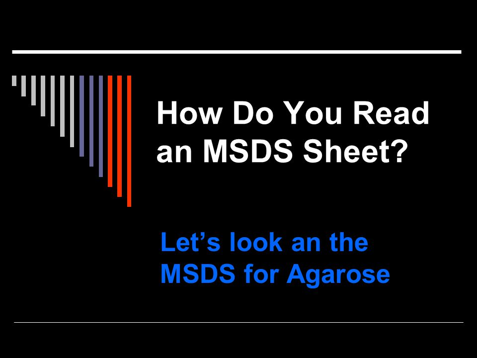 How Do You Read an MSDS Sheet