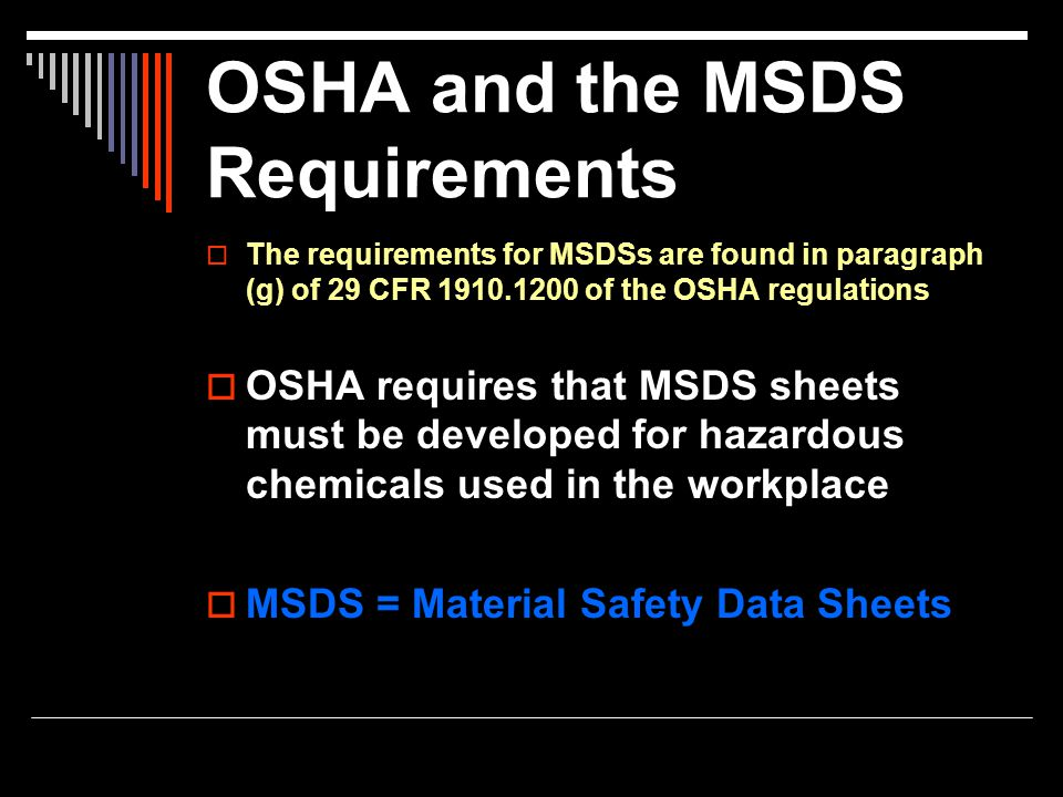 OSHA and the MSDS Requirements