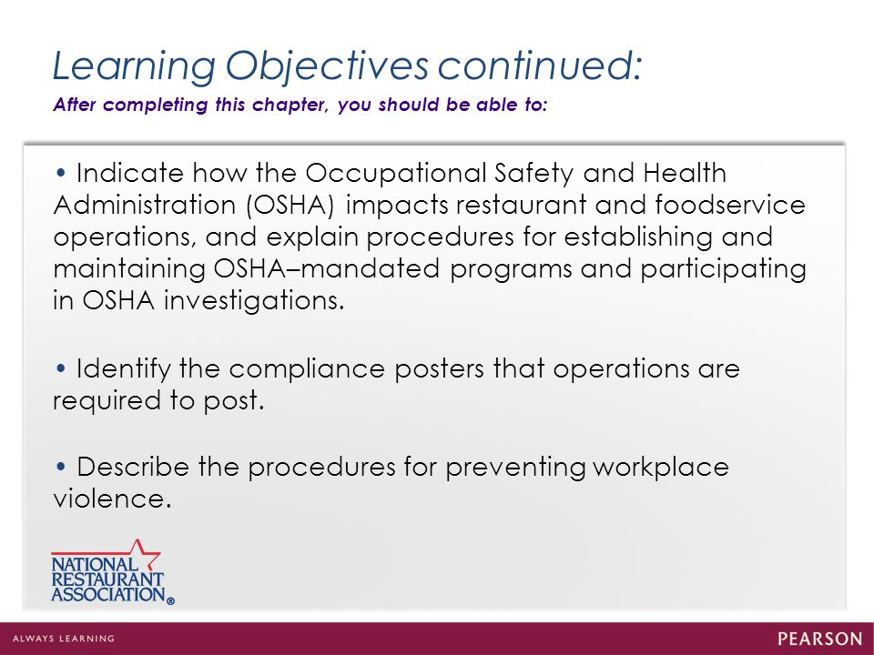 explain the objectives of safety and health in the workplace