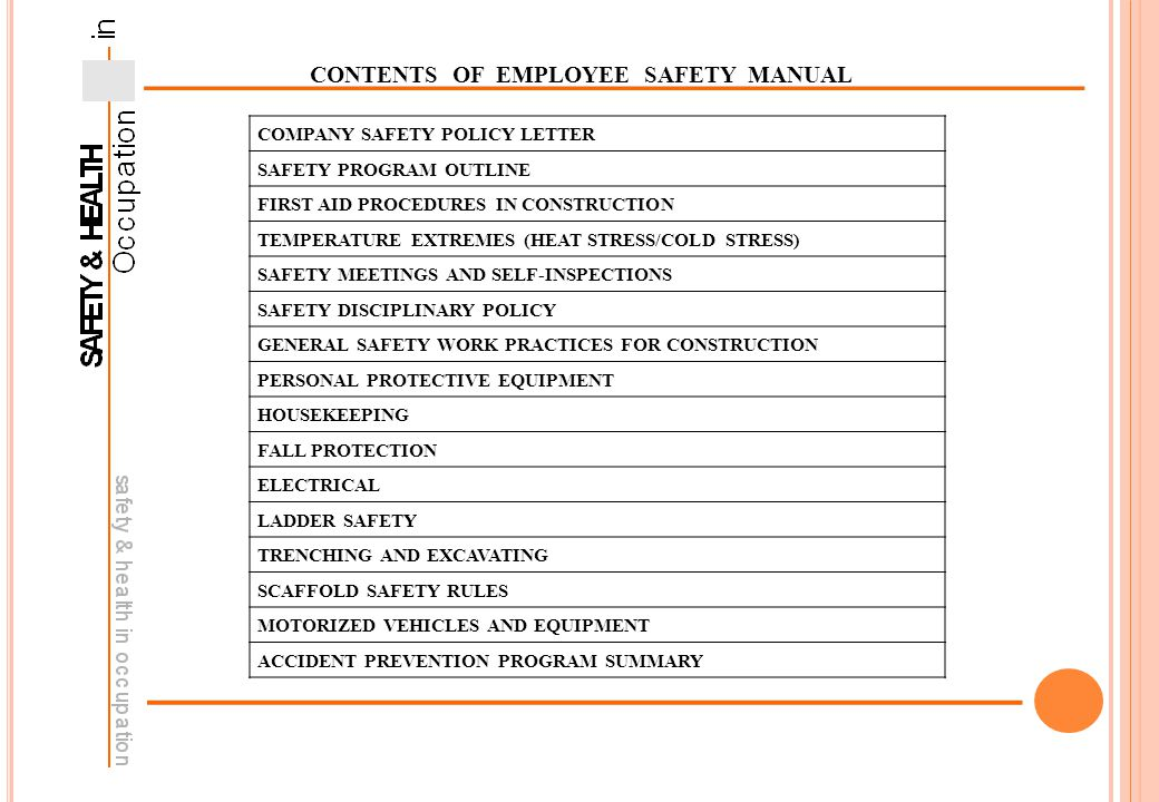 occupational safety health in construction ppt download rh slideplayer com Health Safety Environmental Manual Employee Health and Safety Manual