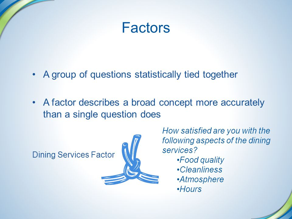 Factors A group of questions statistically tied together