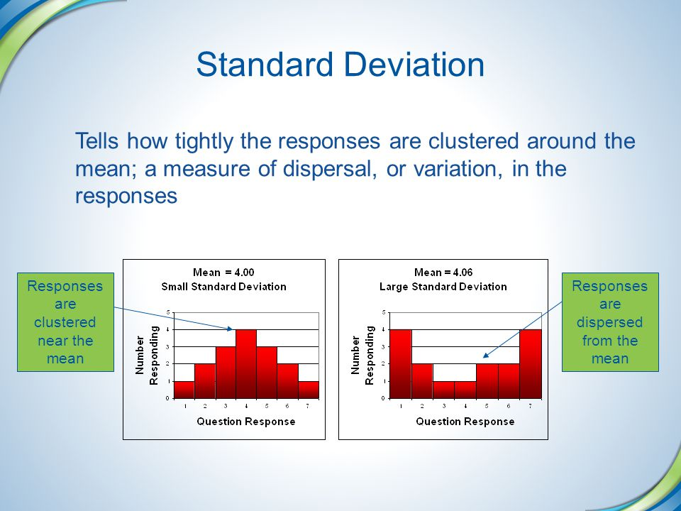 Standard Deviation Tells how tightly the responses are clustered around the mean; a measure of dispersal, or variation, in the responses.