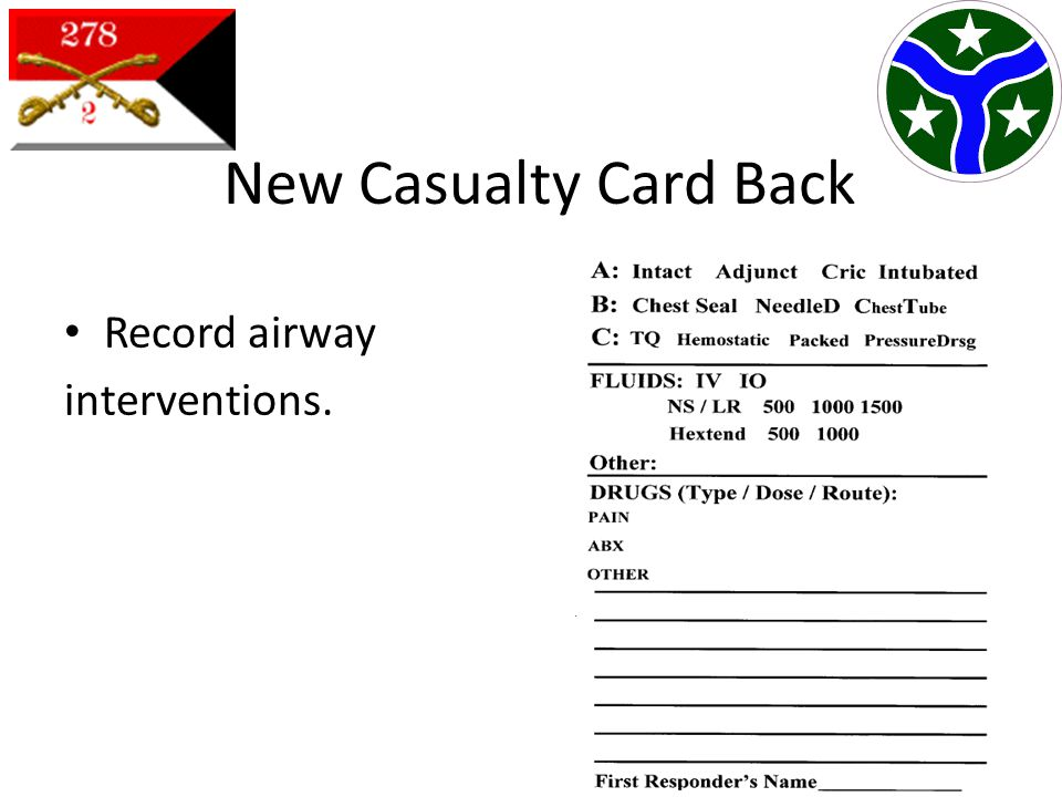 New Casualty Card Back Record airway interventions.