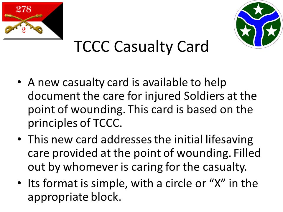TCCC Casualty Card