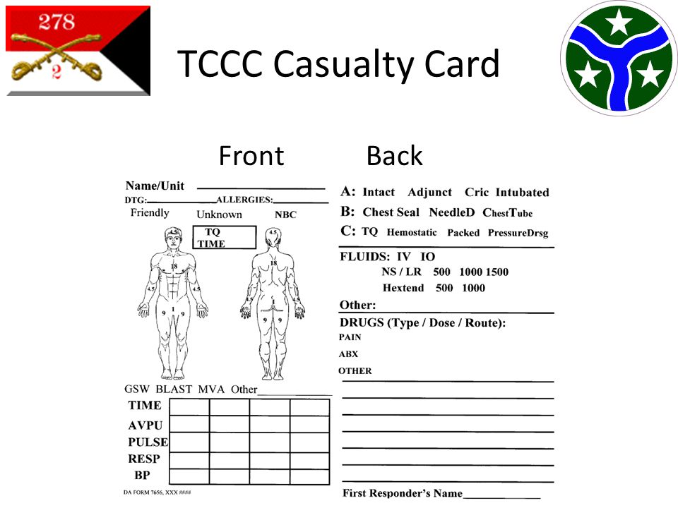 TCCC Casualty Card Front Back