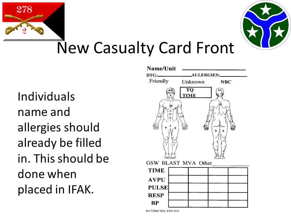 New Casualty Card Front