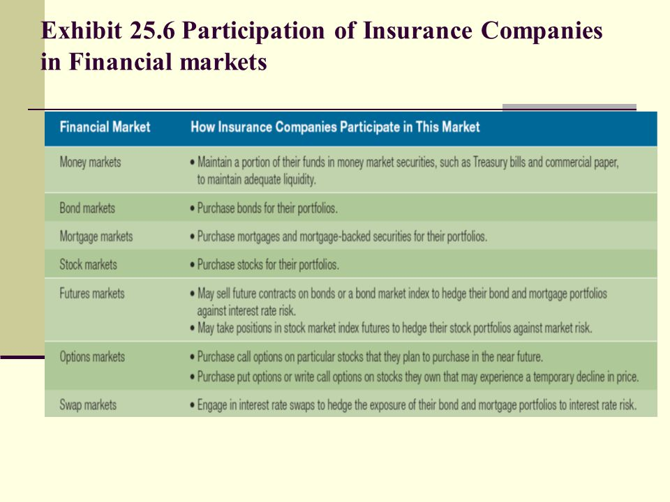 Exhibit 25.6 Participation of Insurance Companies in Financial markets