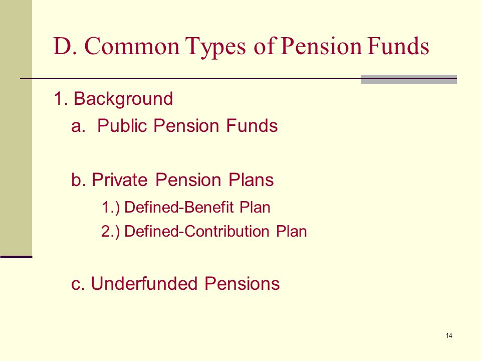 D. Common Types of Pension Funds