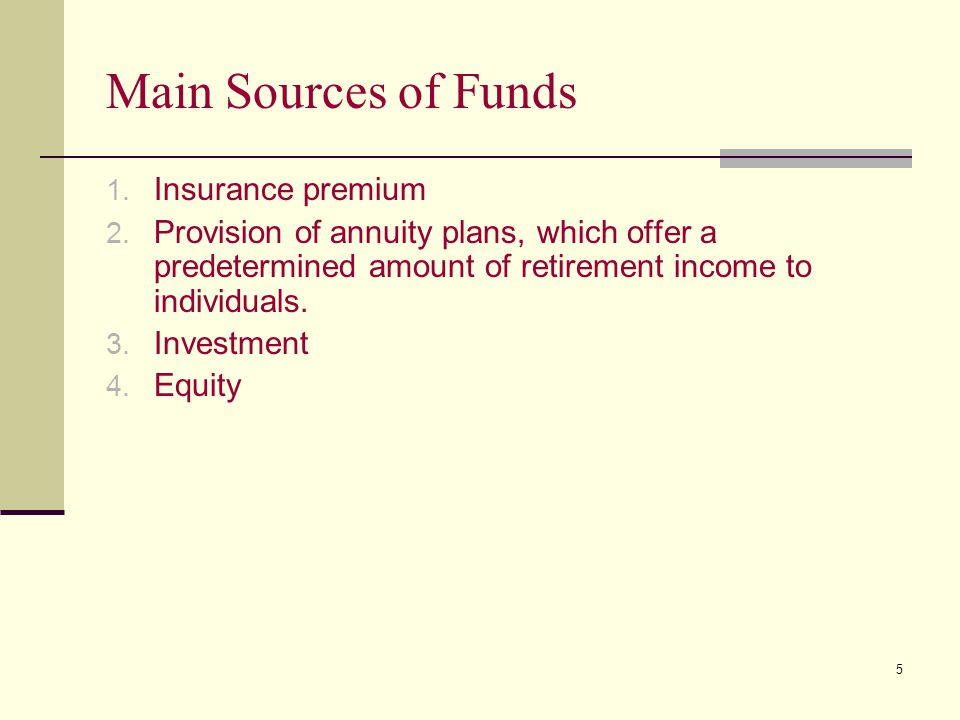 Main Sources of Funds Insurance premium