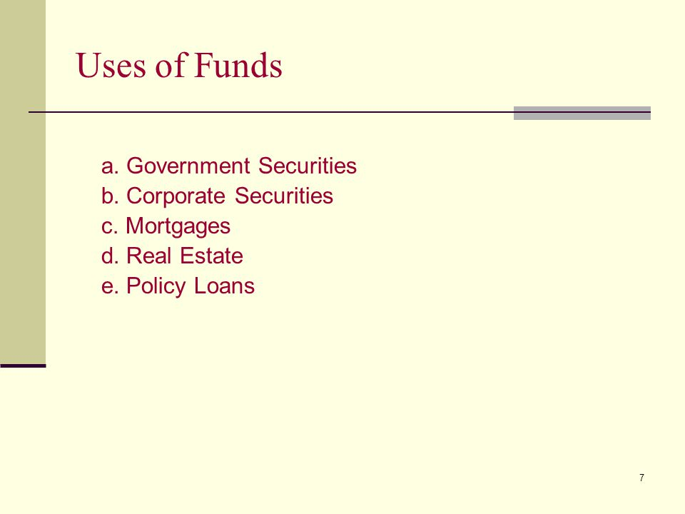 Uses of Funds a. Government Securities b. Corporate Securities