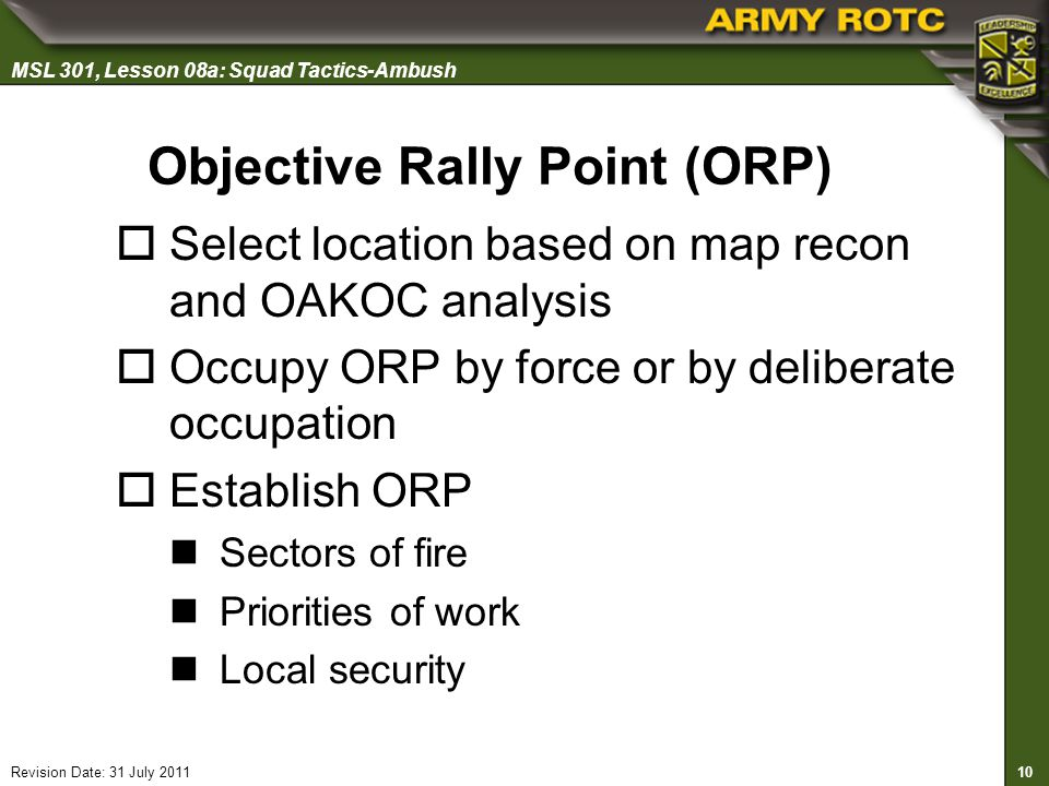 Objective Rally Point (ORP)