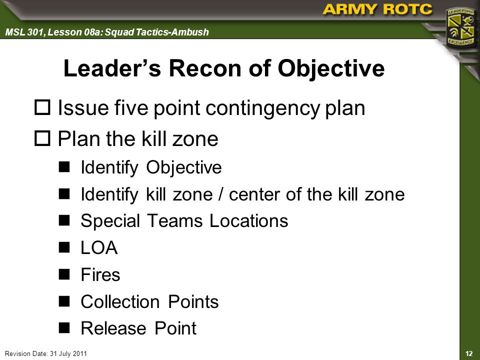Leader's Recon of Objective