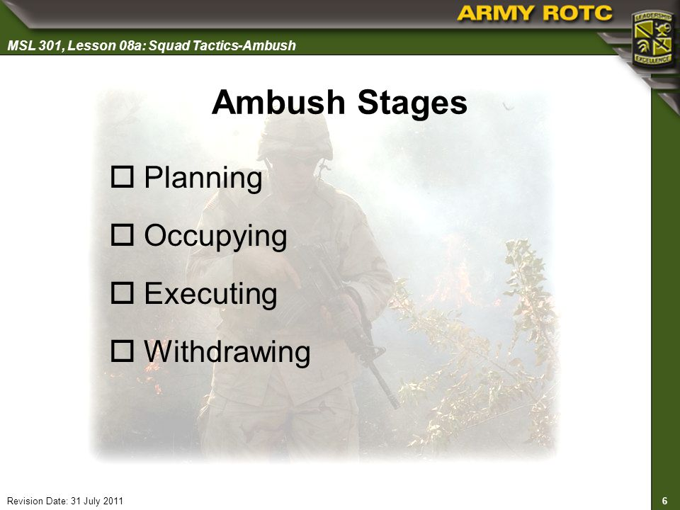 Ambush Stages Planning Occupying Executing Withdrawing Slide 6 of 30