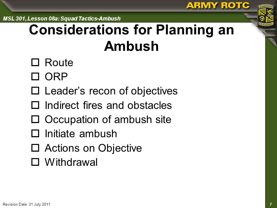 Considerations for Planning an Ambush