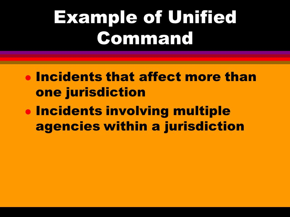 Example of Unified Command