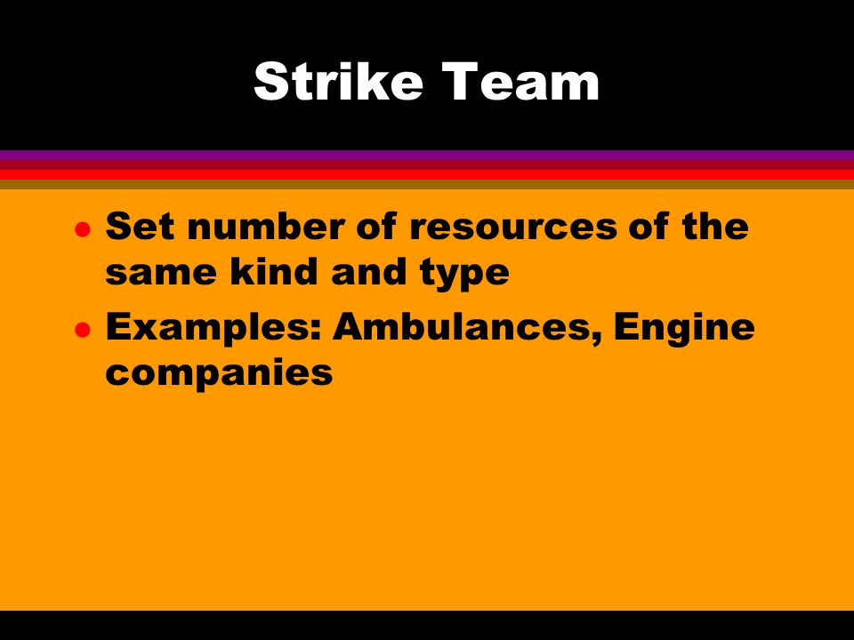 Strike Team Set number of resources of the same kind and type