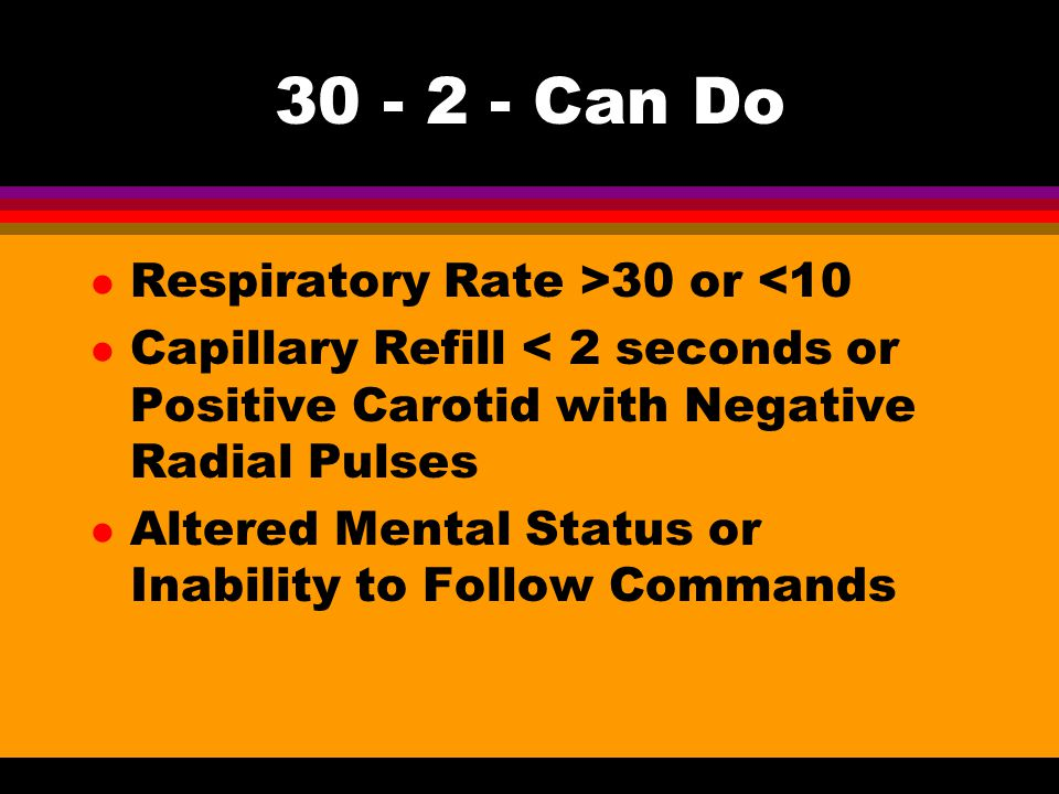 Can Do Respiratory Rate >30 or <10