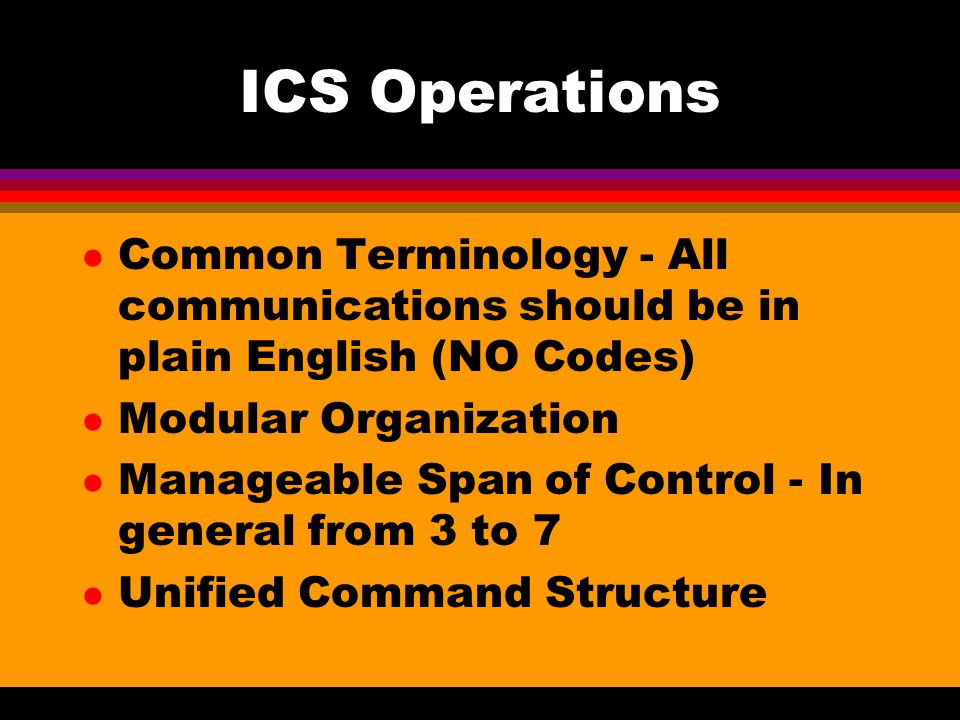 ICS Operations Common Terminology - All communications should be in plain English (NO Codes) Modular Organization.