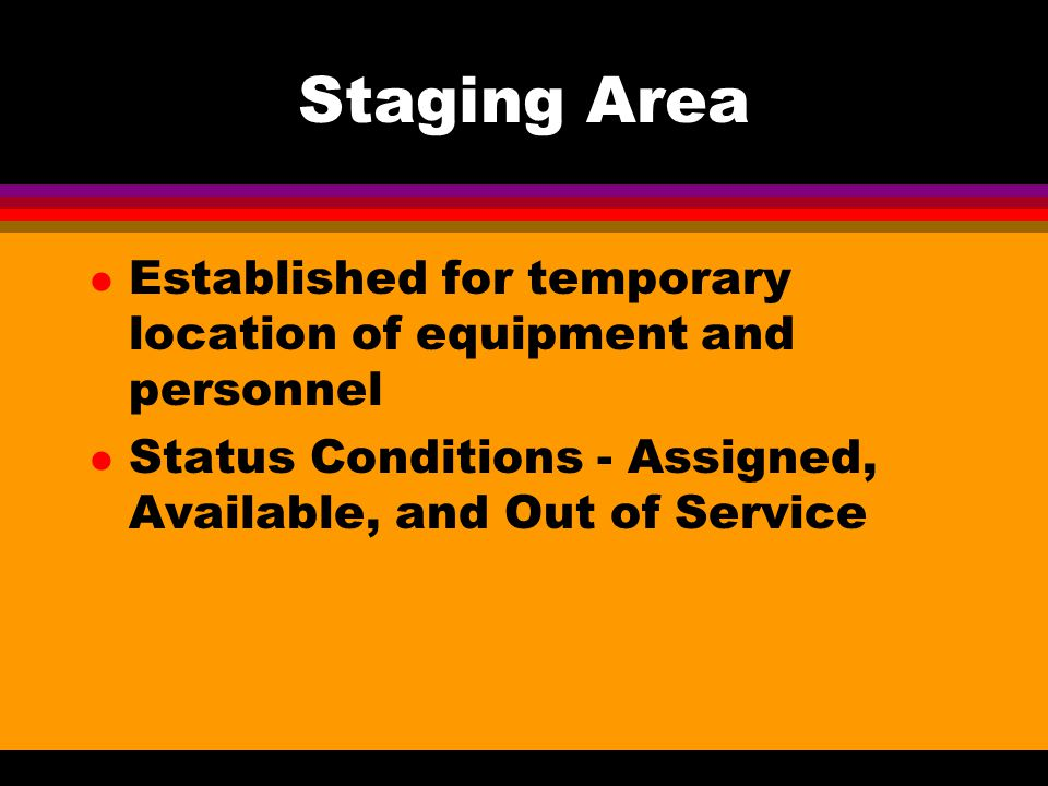 Staging Area Established for temporary location of equipment and personnel.