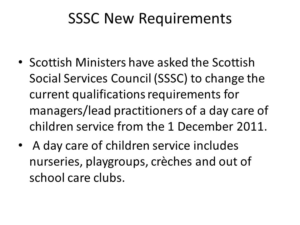 SSSC New Requirements
