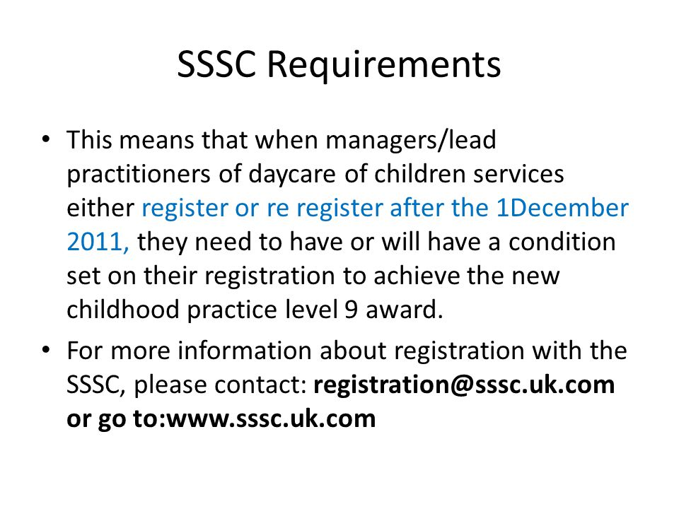 SSSC Requirements