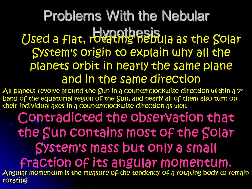 Problems With the Nebular Hypothesis