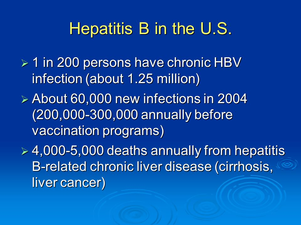 Hepatitis B in the U.S. 1 in 200 persons have chronic HBV infection (about 1.25 million)