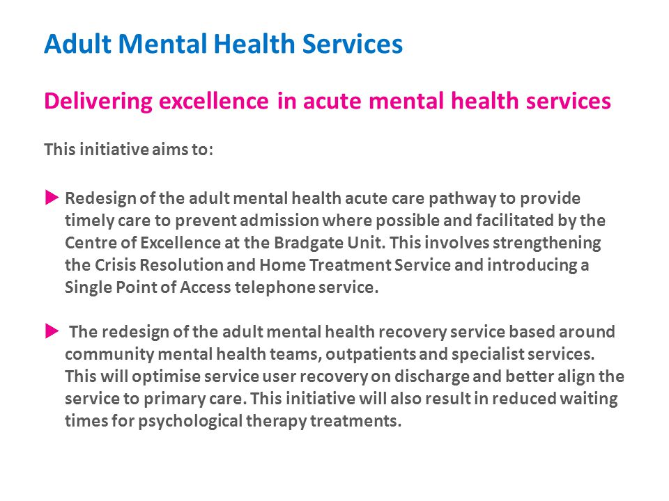 Young adult mental health services
