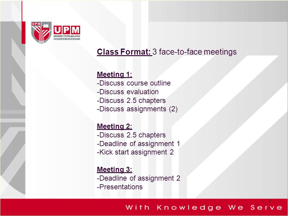 Class Format: 3 face-to-face meetings Meeting 1: -Discuss course outline -Discuss evaluation -Discuss 2.5 chapters -Discuss assignments (2) Meeting 2: -Discuss 2.5 chapters -Deadline of assignment 1 -Kick start assignment 2 Meeting 3: -Deadline of assignment 2 -Presentations