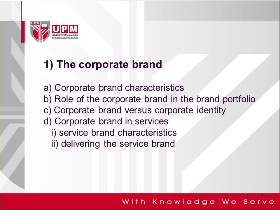 1) The corporate brand a) Corporate brand characteristics b) Role of the corporate brand in the brand portfolio c) Corporate brand versus corporate identity d) Corporate brand in services i) service brand characteristics ii) delivering the service brand