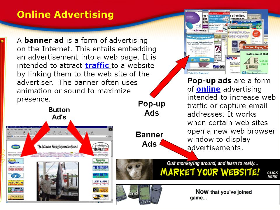 Online Advertising Pop-up Ads Banner Ads